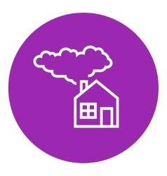 Save energy house line icon vector
