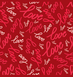seamless pattern with words love vector image vector image