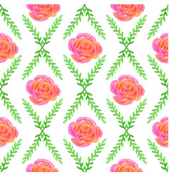 Seamless wallpaper with rose and green bruhche vector