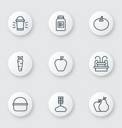 set of 9 planting icons includes jar cereal vector image