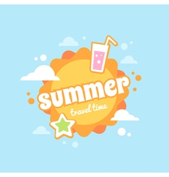 Summer sun flat card vector
