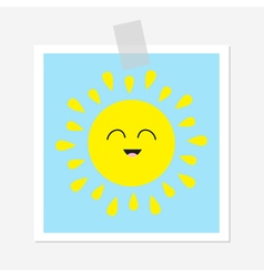 Sun shining icon cute cartoon character kawaii vector