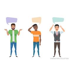 three modern multiracial men communicate dialog vector image