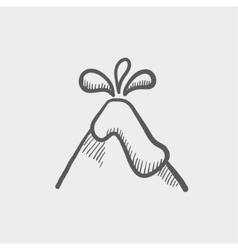 Volcano exploding sketch icon vector image