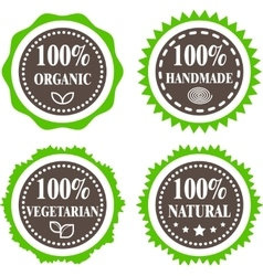 Green and brown badges vector