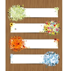 Four seasons - spring summer autumn winter banners vector