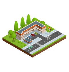 Motel or hotel building near the road with cars vector