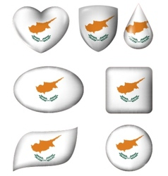 Cyprus flag in various shape glossy button vector