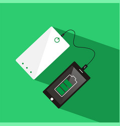Smartphone connected to power bank top view vector