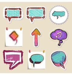 Speech bubbles set hand drawn and isolated vector