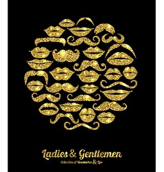 Lips and Moustaches gold set Design glitter icons vector image