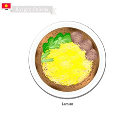 Lamian or chinese style noodle soup with beef vector