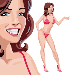 Girl in red bikini vector