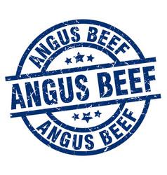 Angus beef blue round grunge stamp vector