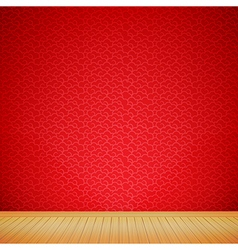 Brown wood floor with chinese style red background vector