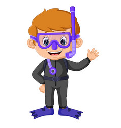 cartoon boy diving vector image