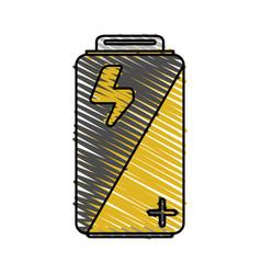 Color crayon stripe cartoon alkaline battery vector