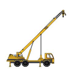 Color image cartoon construction crane truck vector