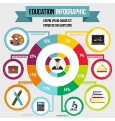 Education infographic flat style vector image vector image