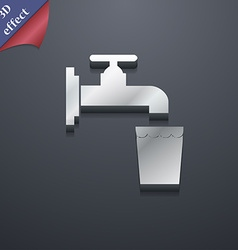 Faucet glass water icon symbol 3d style trendy vector