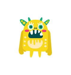 funny yellow cartoon monster fabulous incredible vector image vector image