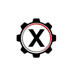 Gear solution logo letter x vector
