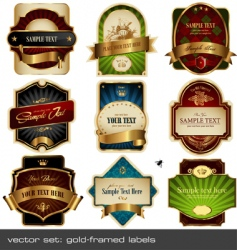 gold framed labels vector image vector image