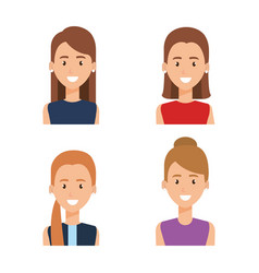 Group of women characters vector