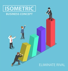 Isometric businessman eliminate his rival vector