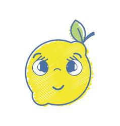 Kawaii nice shy lemon fruit vector