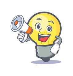 Light bulb character cartoon with megaphone vector