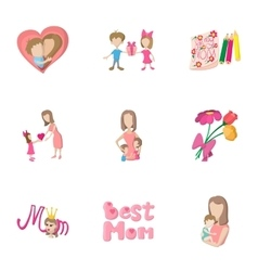 Love of mother icons set cartoon style vector