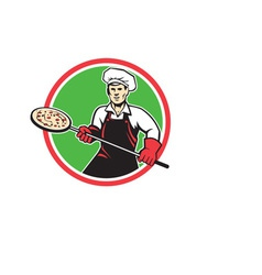 Pizza maker holding peel circle retro vector