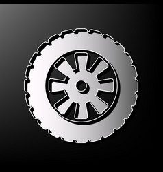 Road tire sign gray 3d printed icon on vector