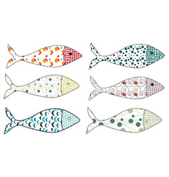 set of stylized fishes collection of vector image