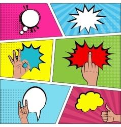 Six comic speech bubble background pop art vector