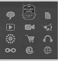 social media network handmade sketch icon set vector image vector image