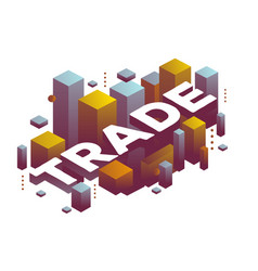 three dimensional word trade with abstract color vector image vector image