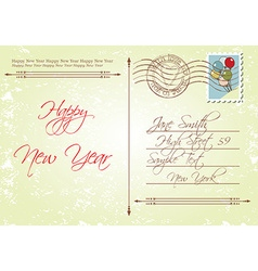 Vintage style back of new years greeting vector image