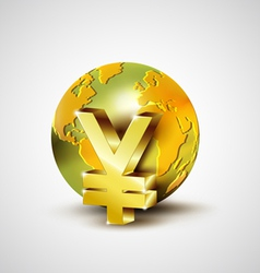 World economic concept with 3d gold world and yen vector