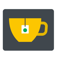 Yellow tea cup with teabag icon isolated vector