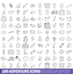 100 adventure icons set outline style vector