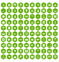 100 box icons hexagon green vector