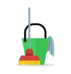 Cleaning web banner bucket with duster and broom vector