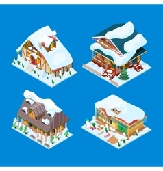 Isometric Christmas Decorated Houses Set vector image