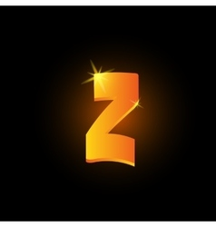 Golden arabic style letter z shiny latin alphabet vector