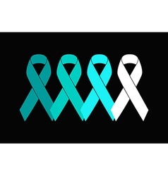 Flat teal ribbons symbols from white to dark teal vector