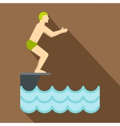 Man standing on springboard preparing to dive icon vector