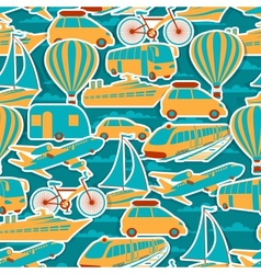 Retro seamless travel pattern vector