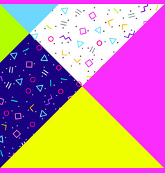 Abstract geometric background neon memphis style vector